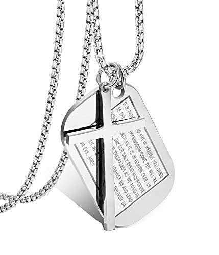Finrezio Kreuz Halskette aus Edelstahl für Männer Gebet Kreuz Halskette Dog Tag Silber (Halloween-tag Für Die Gebet)