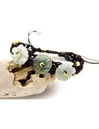 """jba16034–AGATHE Creation–Pulsera de jade Tallada)–flor. Piedras de jade naturales–categoría """"A""""–Puerta felicidad–Talla ajustable–entierement hecho a mano"""