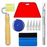 Ewrap kit completo di strumenti per carta da parati con lavavetri rosso lisciante, rullo, metro a nastro, ideale per carta da parati, installazione di pellicole per finestrini