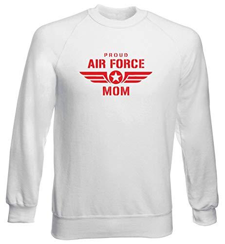 T-Shirtshock Rundhals-Sweatshirt fur Mann Weiss WTC0741 Proud air Force mom w pink Air Force Mom Sweatshirt