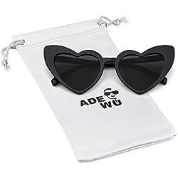 ADEWU Gafas de sol en forma de corazón Chicas Gafas retro de moda para mujer (A - Negro (polarizado))