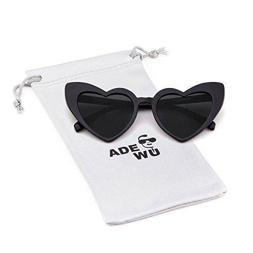 ADEWU Herzform Sonnenbrille Mode Retro Brille Damen Frauen (A - Schwarz (polarisiert))