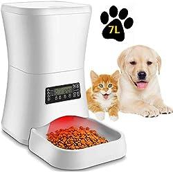 Pujuas Dispensador Automático 7L de 4 Comidas Diarias para Mascotas Perros y Gatos, Comedero Automático con Grabación de Voz, Temporizador, Detección de Infrarrojos, Consumo de Energía Bajo