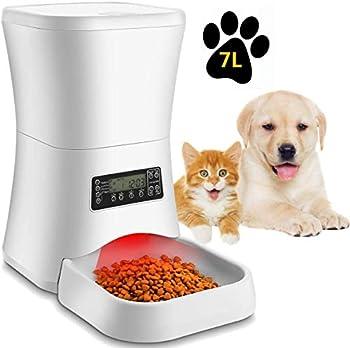 Pujuas Distributeur Automatique de Nourriture Distributeur de Croquettes Gamelle Enregistrement 4 Repas pour Chats et Chiens 7L