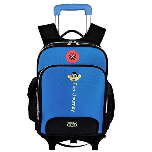 Coofit Sac à dos école enfant à roulette sac d'école fille garçon,la nouvelle collection(bleu ciel)