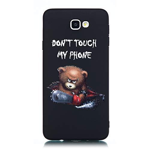 Chreey Hülle für Samsung Galaxy J7 Prime / On7 (2016), Anti-kratzt Schwarz 3D Drucken Muster Handyhülle Weiche Silikon TPU Rückseitehülle Bumper Schutzhülle, Bär - Don't Touch My Phone