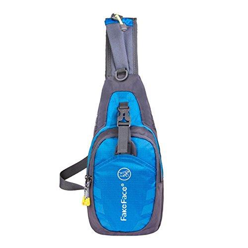 Männer Brusttasche Bauchtasche klein Nylon wasserdicht Brustbeutel Umhängetasche Schultertasche für Reise Camping Hiking und Freiheit Blau