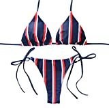 VJGOAL Damen Bikini Set, Frauen Mode Streifen Print Verband Gepolsterter BH Strand Halter Bikini Set Dünn Bademode (L, Red)