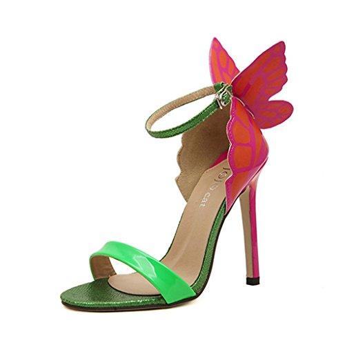 Single shoes - female aluk- europa e stati uniti - le ali delle farfalle sandali con punta a tacco alto fanno bene con le scarpe da banchetto (colore : verde, dimensioni : 37)