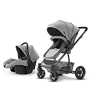 Baby Stroller, High Landscape Baby Doll Stroller, Car Seat Baby Trend Jogging Stroller for Baby Infant Newborn Baby (Color : Gray)   10