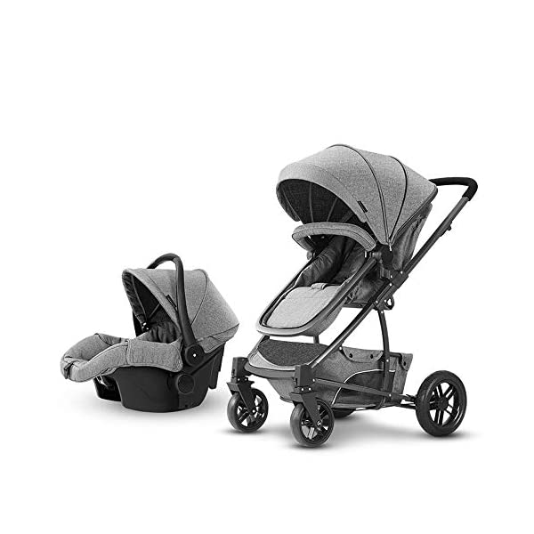 Baby Stroller, High Landscape Baby Doll Stroller, Car Seat Baby Trend Jogging Stroller for Baby Infant Newborn Baby (Color : Gray) AEQ ●SEAT BACK SUPPORT: baby alive stroller seat board, anti-seat surface subsided back board, effectively prevent hunchback, baby stroller fan gives the baby a safe and comfortable seat sleeping basket. ●5+1 SECURITY PROTECTION: for baby stroller five-point seat belt + armrest hatch protection, all-round coverage to protect the baby's key parts, baby pram stroller strictly slip away. ●SUNSCREEN INSULATION LAYER: baby stroller toy through the barrier and reflection dual means, baby strollers to resist UV to reduce the heat. 1