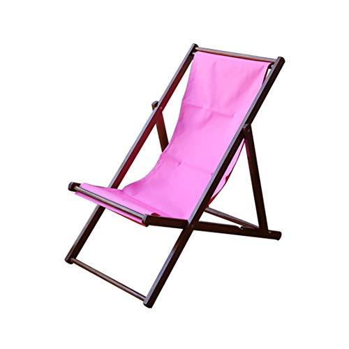 HIOD Klappstuhl im Freien Buche Lounge Sessel Tragbarer atmungsaktiver Lehnstuhl Holzgarten Patio Lounge Strand Sonnenliege,Pink