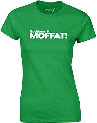 Brand88 - Goddamn it, Moffat, Mesdames T-shirt imprimé Vert/Blanc