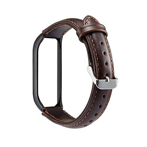 H.eternal kompatibel für xiaomi mi Band 4 Watch Armband + Metal Hülle Cover Smartwatch Ersatz Armbänder PU Leder Ersatzarmband Strap Uhrenarmbänder Sportarmband (Braun)