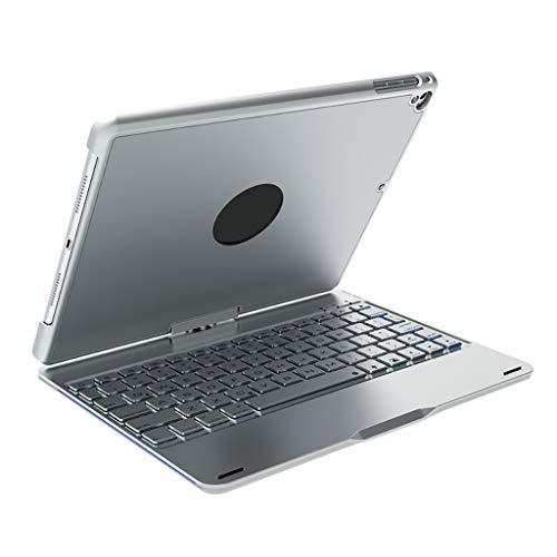 Universelles um 360 Grad drehbares Bluetooth-Tastaturgehäuse mit 7-Farben-Hintergrundbeleuchtung und Aluminiumlegierung, Für iPad Air/Pro 10.5 Fall 360 ° Schlag (Silber)