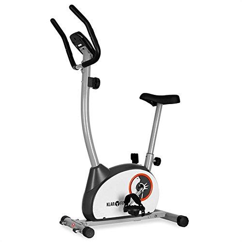Klarfit MOBI Basic 10 Cyclette salvaspazio con cardiofrequenzimetro (computer di allenamento, 8 livelli di resistenza variabili, display LCD, sellino regolabile) - bianco
