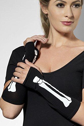 SMIFFYS Smiffy's - Guanti lunghi senza dita con stampa scheletro