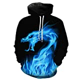 WEIYIGE Sweatshirt 3D Flammen Dragon Print Hooded Pocket Rollkragenpullover Herrenhut Herren Sweater-M