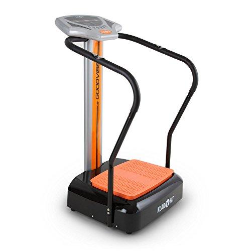 Klarfit Goodvibe • Vibrationsplatte • Vibrationstrainer • Fitnessgerät • Bauch Beine Po • Pulsmesser • Trainingscomputer • LED-Display • Bodenrollen • platzsparend • orange oder schwarz