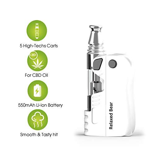 NEREUS CBD-Öl Mini-Mod-Verdampfer -entspannter Bär Hanföl Zigarette Starter Kit - Oberer Luftstrom N Horizontale Keramikspule -DIDA-Kartusche Zerstäuber, 550mAh eCig-vape Batterie - kein Nikotin