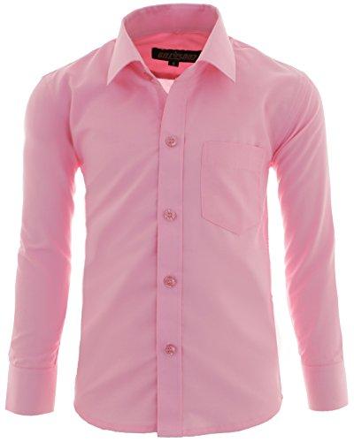 GILLSONZ A1vDa Kinder Party Hemd Freizeit Hemd bügelleicht Lange Arm, Rosa, 146/152 (Herstellergröße: 14) (Rosa Slim Fit Hemd)