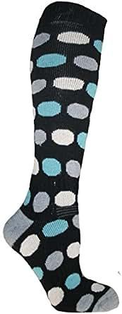 Zest Ladies 1 Pair Black Spot Thermal Ski Socks UK Size 6-8