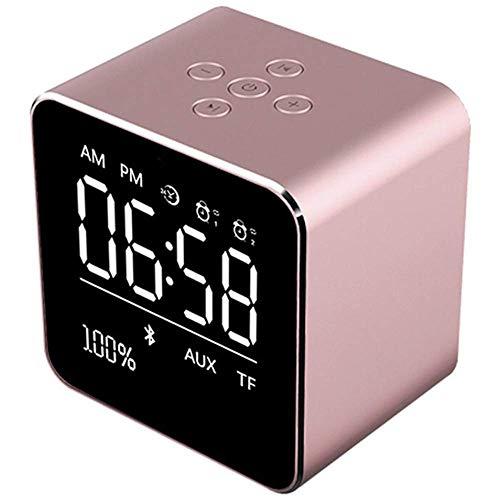 Nfudishpu Wecker mit drahtlosem Bluetooth-Lautsprecher, tragbarem Metall-Mini-Quadrat-Lautsprecher, Wecker-LCD-Bildschirm, Pink