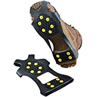 Fliyeong 1 Pair Anti-Skid Snow Shoes Cover 10 Teeth Ice Snow Grips Durable Silicon Spikes Crampon for Outdoor Ski Ice Snow Walking(Black)
