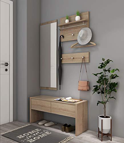 Natsen 4tlg. Garderobenset Flurgarderobe | 1 Bank + 1 Spiegelpanel +2 Garderobenpanel | Diele/Flur Set