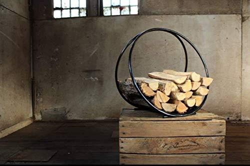 khevga Chimenea de madera cesta Metal Negro Moderno Redondo