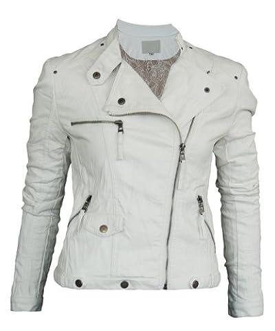 Damen Lederjacke in 30 Farben Biker Style 0508 Vegan Leder, Größe:40;Farbe:Weiß