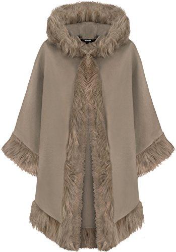 WearAll - Damen Ebene Faux Pelz Trimmen Abzugshaube Umhang Schal Mantel Poncho Mantel Top - 1 Farben - Größe 36-48 Mocha