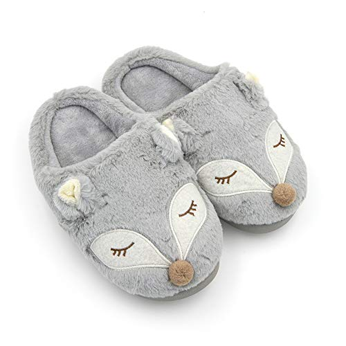 Womens Cute Fox Animal Warm Indoor Slippers Fleece Plush Unicorn Slip-on House Bedroom Winter Shoes