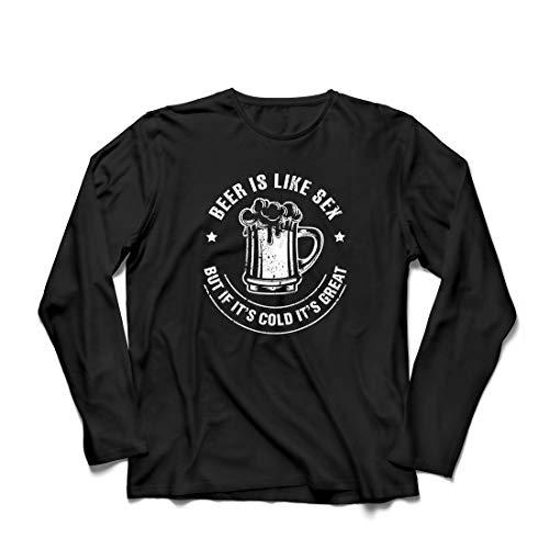 lepni.me Herren T Shirts Bier ist wie Sex, Aber wenn es kalt ist, ist es toll, Humorvolles Geschenk (X-Large Schwarz Mehrfarben)