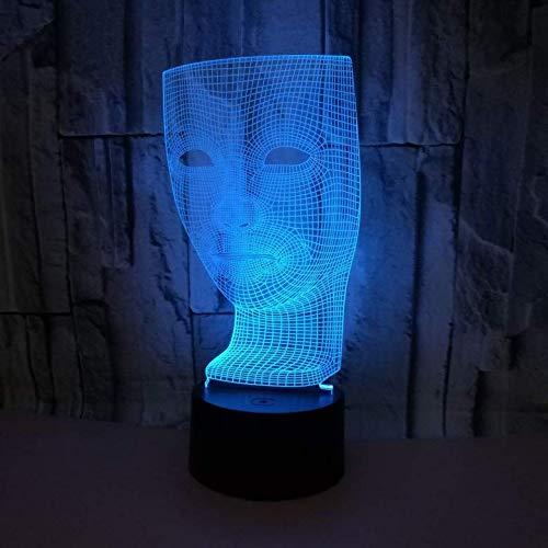 3D Illusion Nachtlicht Maske Nachttischlampe LED Lampe 7 Farben ändern Touch Nachtlampe fürs Wohnzimmer Schlafzimmer Home Dekoration Kinder Geschenk