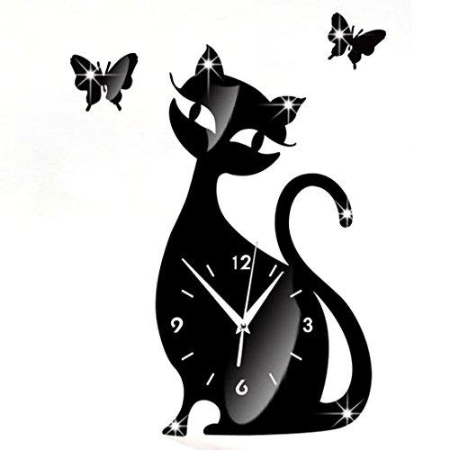 Oyedens Niedlich Schwarz Katze Schmetterling Spiegel Modernes Design Wohnkultur Wanduhr Aufkleber
