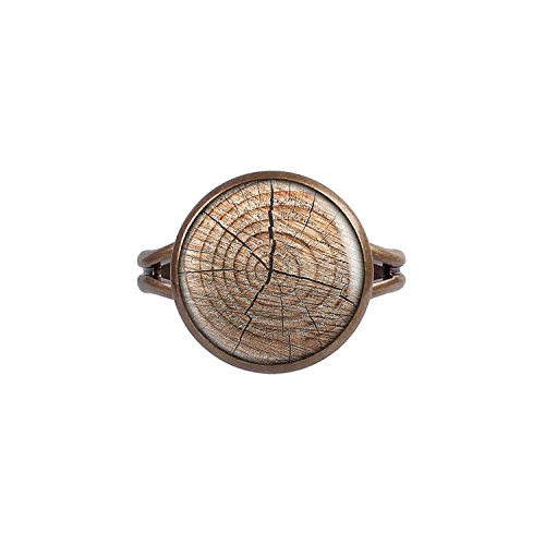 Stumpf Holz (Mylery Ring mit Motiv Holz-Struktur Baum-Stumpf Holz-Maserung bronze 14mm)