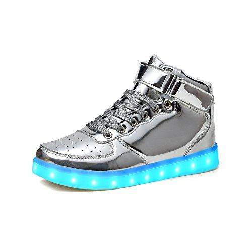 huhe 2017 Verbesserung Blinkende Leuchtende High Top Light Up Sneakers F¨¹r Junge Damen Herren(37,Neu-Silber) (Halloween Schuhe 2017)