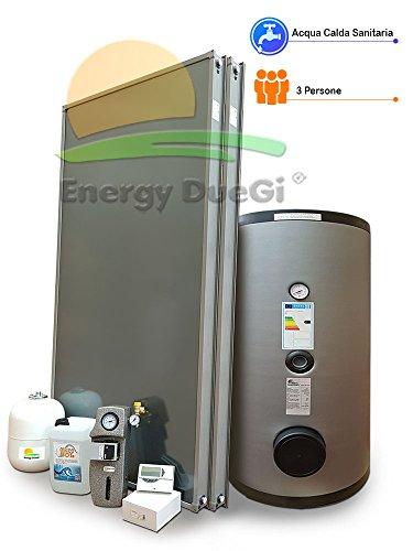 Kit impianto solare termico circolazione forzata per produzione Acqua Calda Sanitaria, 3 persone, bollitore 200 litri, FKS