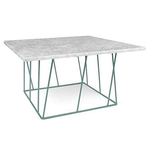 TemaHome Table Basse carrée Helix 75 en marbre Blanc Structure laquée Verte