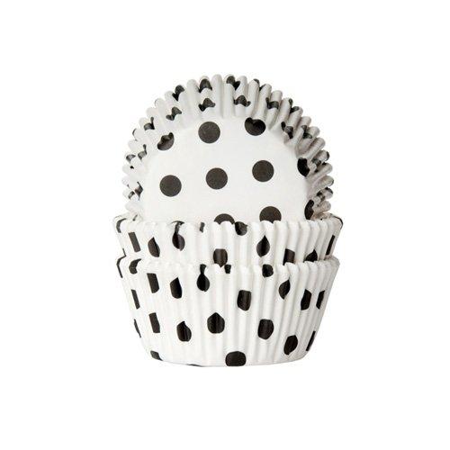 House of Marie 50 Muffinförmchen weiß, schwarz gepunktet