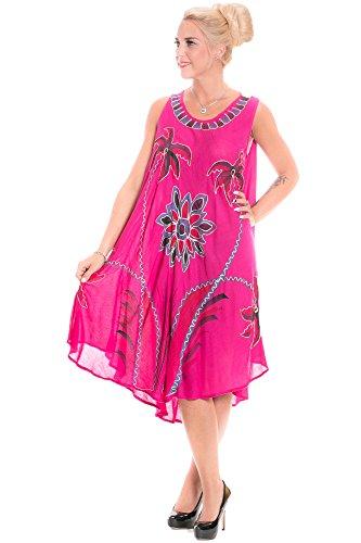 Gadzo Sommerkleid Damen Knielang Strandkleider für Damen Tunika Pink Trägerkleid StB0648