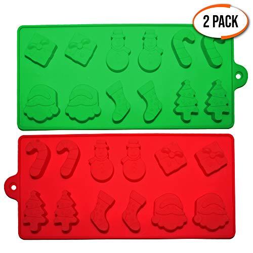 2er Pack Backformen für Weihnachten aus Silikon - Silikonformen mit 6 weihnachtlichen Formen - Backzubehör & Kuchenformen zum Backen von Kuchen, Cupcakes, Muffins, Keksen oder als Eiswürfel-Formen