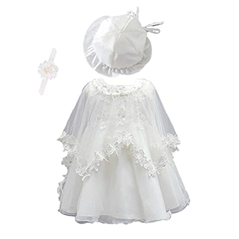 Lace Embroidered White Ivory Baby Girls' Baptism Dress (12-18Months,