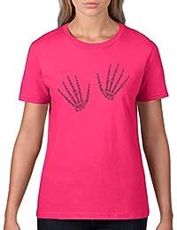 Damen T-Shirt Halloween Skelett Hands Hände Allhalloween Party Kostüm