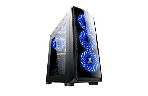 CoolBox COO-DGC9K7-LB-0 Torre Negro Carcasa de Ordenador - Caja de Ordenador (Torre, PC, SPCC, ATX,Micro-ATX, Negro, Juego)