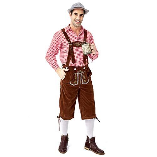 ToDIDAF Oktoberfest Lederhose Herrenanzug Traditionelle Kleidung Festival Kleidung Kariertes Hemd Strapsanzug Sticken for Oktoberfest Karneval Halloween Party Rot L