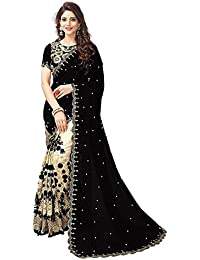 Clothfab Women's Georgette Saree With Blouse Piece (sarees 1348_Black_Free Size)