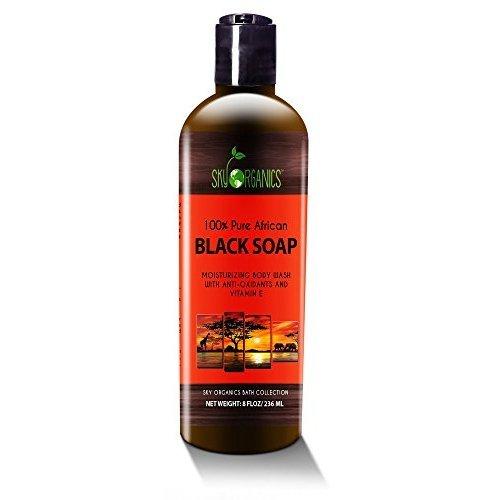 Jabón negro africano orgánico cara cuerpo, 236 ml