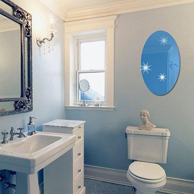 JWQT Acryl rechteckig oval Spiegel, an der Wand kleben auf Selbstklebende entfernen Wohnzimmer Badezimmer Badezimmer Glas Spiegel Abrichten kann, Ellipse, Blau 42 * 27 cm, groß
